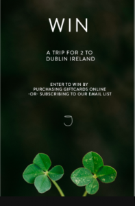 Joey Restaurants – Win a 5-day trip for 2 to Dublin, Ireland valued at $6,500 CAD
