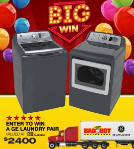 Lastman's Bad Boy – Win a GE Appliances Laundry Pair Top Front Loading Stainless Steel Washer & Dryer valued at $2,400