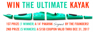 Pakayak – Win The Ultimate Kayak valued at $1,795 OR 1 of 5 minor prizes of a $150 coupon to use on www.pakayak.com