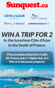 Sunquest.ca – Win a trip for 2 & 7-night stay in the South of France valued at $3,700