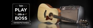 "Taylor Guitars – ""Play Like a Boss"" – Win a Taylor 510e guitar & a Boss Acoustic Singer Pro amplifier valued at $3,198"