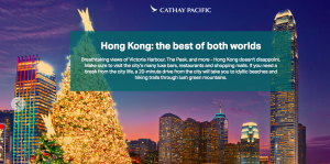 Cathay Pacific – Win a pair of Premium Economy Class tickets from Vancouver or Toronto to Hong Kong plus one stop to Asia or South Pacific valued at $4,400