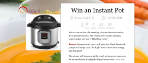 Eat Right Forever – Win an Instant Pot valued at $100