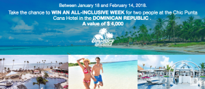 Evasion Channel – Win an all-inclusive Week for 2 at the Chic Punta Cana Hotel in the Dominican Republic valued at $4,000