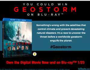 Tribute Publishing – Win 1 of 5 copies of Geostorm Blu-ray valued at over $29 each