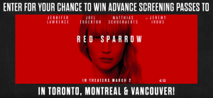 Canada.co – Red Sparrow – Win 1 of 25 grand prizes OR 1 of 60 Early Bird prizes