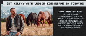 Canada.com – Win a trip for 2 to Toronto plus 2-night accommodation and 2 tickets to the Justin Timberlake performance