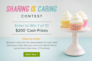 Ebates.ca – Sharing is Caring – Win 1 of 10 cash prizes valued at $200 each