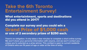 Toronto Arts & Entertainment – Complete a survey to Win a grand prize of $1,000 cash OR 1 of 2 minor prizes of $250 cash each