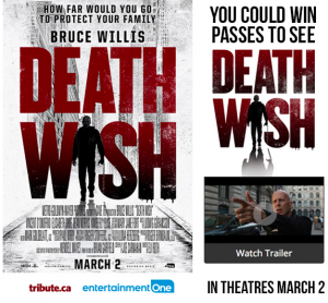 Tribute Publishing – Win 1 of 5 ROE double passes to Death Wish