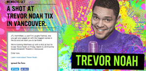 Virgin Mobile Canada – JFL Northwest – Trevor Noah – Win 1 of 3 prizes of 2 tickets to the performance