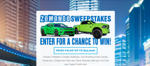 Zomongo TV – Pick Your Zomongo Events Vehicle – Win a Car or a Truck valued at up to $ 45,000