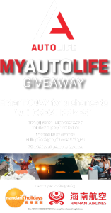 Auto Life – Win a grand prize of a trip for 2 to China; second prize of a trip for 2 to Las Vegas OR 1 of 75 minor prizes