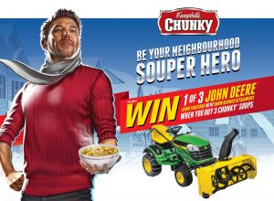 Campbell Company – Chunky Souper You – Win 1 of 3 John Deere E140 Lawn Tractor with Snow Blower valued at $5,000 each