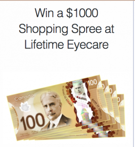 Lifetime Eyecare – Win a $1,000 Shopping Spree at Lifetime Eyecare