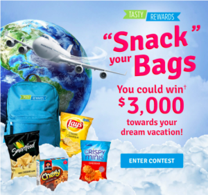 """PepsiCo Canada – Tasty Rewards – """"Snack"""" Your Bags – Win $3,000 to spend towards a travel destination of your choice"""