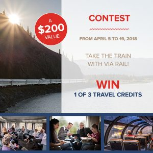 Bayard Canada – Via Rail – Win 1 of 3 travel credits valued at $200 each