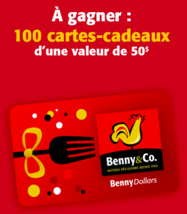 Benny & Frères – Win 1 of 100 gift cards from Benny & Freres valued at $50 each