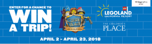 The Children's Place – Win a grand prize of a trip for 4 to Legoland California OR 1 of 5 runner up prizes