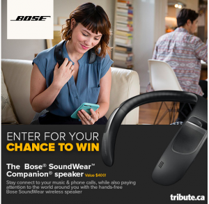 Tribute Publishing – Win 1 of 10 Bose SoundWear Companion speakers valued at $399 CDN each