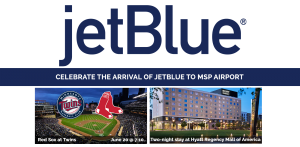 Bloomington – jetBlue – Win a prize package including of a trip for 2 and more