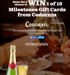 Codorniu – Win 1 of 10 Milestones Bar and Grill Gift Cards valued at $100 CAD each