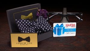Hakim Optical – Father's Day – Win 1 of 4 prize packs of a bow tie and a $100 gift card for Hakim Optical frames and lenses