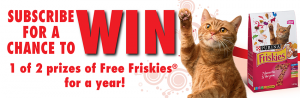 Purina PetCare – Win 1 of 2 prizes of a Year's Supply of Friskies valued at $300 CAD