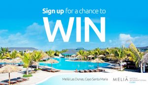 Sunwing Vacations – Win an all-inclusive trip for 2 to Cuba valued at $3,000