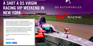 Virgin Mobile Canada – Virgin Racing 2018 Weekend Experience – Win a trip for 2 to New York valued at $8,000 CAD