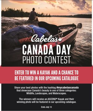 Cabela's Retail – Canada Day – Win 1 of 3 prizes of an Ascend D-10 Sit-In Kayak & their winning photo in a future Cabela's Catalogue