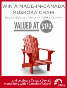 Canadian Turkey – Win a made-in-Canada Muskoka Chair plus an apron valued at $170