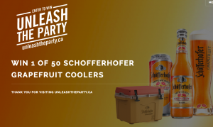 Unleash The Party – Win 1 of 50 Schofferhofer Grapefruit Coolers valued at $140 CAD each