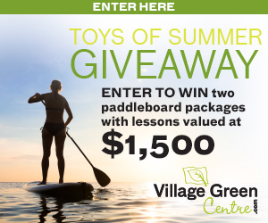 Village Green Centre – Toys of Summer – Win a prize package of 2 Pelican Flow 106 SUP, 2 paddles and 2 life jackets valued at $1,500