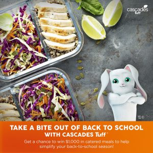 "Cascades Tissue Group – Take a Bite out of Back to School"" – Win a $1,000 gift certificate"