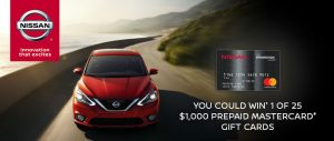 Nissan Canada – Win 1 of 15 Prepaid Mastercard gift cards valued at $1,000 CAD each