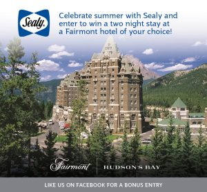 Sealy Canada – Win 2-night stay at any Fairmont Hotel or Resort in North America valued at $800 CDN