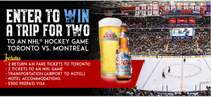 Coors Light – Win a trip for 2 to an NHL Hockey Game Toronto vs Montreal