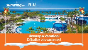 Sunwing Vacations – Unwrap a Vacation – Win a trip for 2 to the Aruba plus 7-night accommodation valued at $9,000 CDN