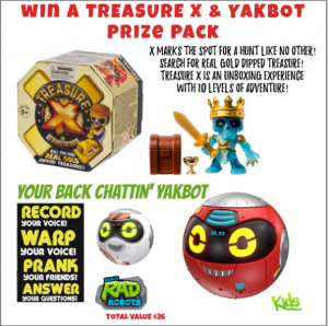 Tribute Publishing Kids – Win a Treasure X & Yakbot prize packs valued at $36 CDN