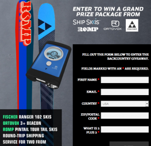 Back Country Magazine – Win a grand prize package valued at $1,248