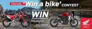 Honda – Win either a 2019 CRF250L Honda OR a 2019 Honda CB300R motorcycle valued at $5,799 CAD