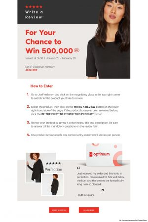 Joe Fresh – Ratings and Reviews – Win 500,000 PC Optimum points valued at $500
