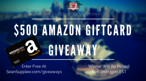 Sean Supplee – Win a $500 Amazon e-gift card