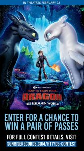 Sunrise Records – Win 1 of 10 pairs of tickets to see How to Train Your Dragon: The Hidden World valued at $34 CAD each