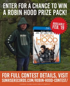 Sunrise Records – Win 1 of 3 Robin Hoon prize packs valued at $56 CAD each