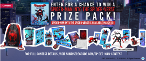 Sunrise Records – Win 1 of 2  Spider-man into the Spider-verse prize packs valued at $125 CAD each