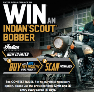 7-Eleven – Full Throttle Energy Drink – Win a 2019 Indian brand Scout Bobber Bike valued at $15,000 CAD