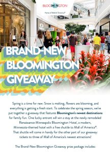 Bloomington Convention & Visitors Bureau – 2019 Brand-new Bloomington – Win a prize package valued at $519