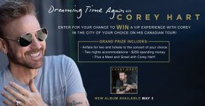 Canada.com – Corey Hart – Win a trip for 2 to attend a Corey Hart Never Surrender Tour concert valued at $4,000 CDN
